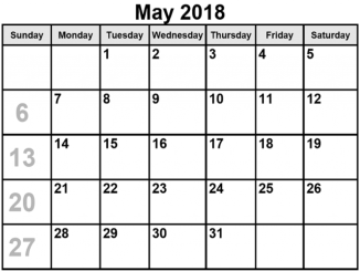 May 2018 Calendar Printable Word