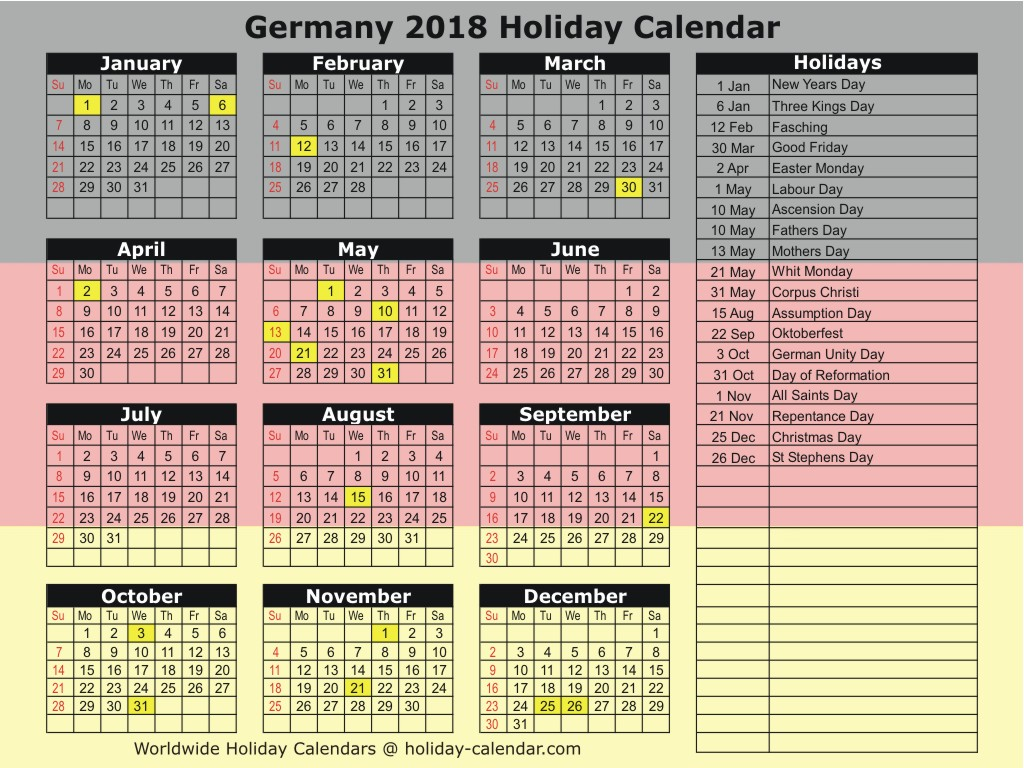 May 2018 Calendar with Holidays Germany