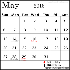 May 2018 Calendar with Holidays India