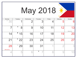 May 2018 Calendar with Holidays Philippines