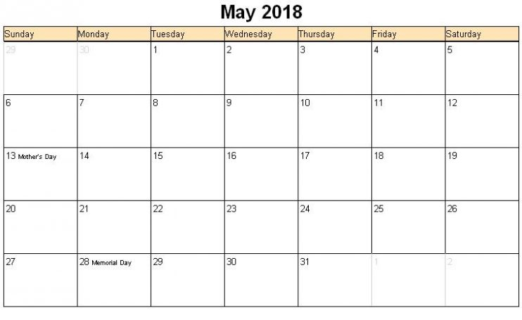 May 2018 Calendar with Holidays Printable