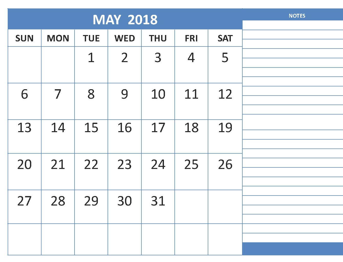 May 2018 Calendar with Notes