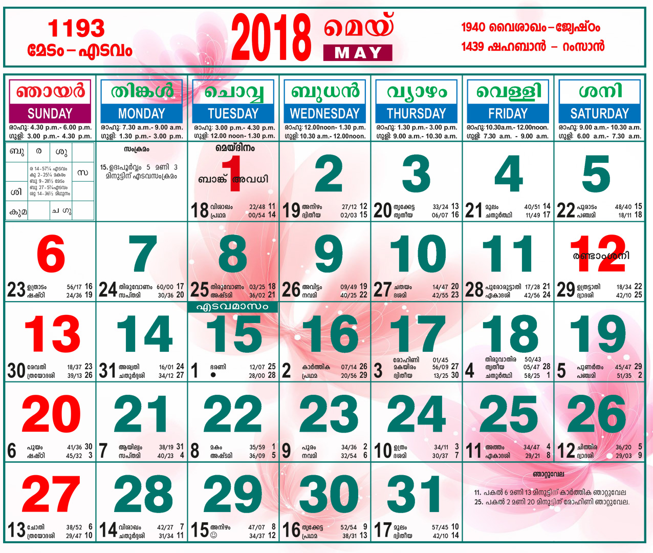 May 2018 Holidays Malayalam