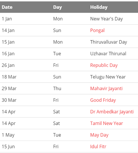 May 2018 Holidays Tamil