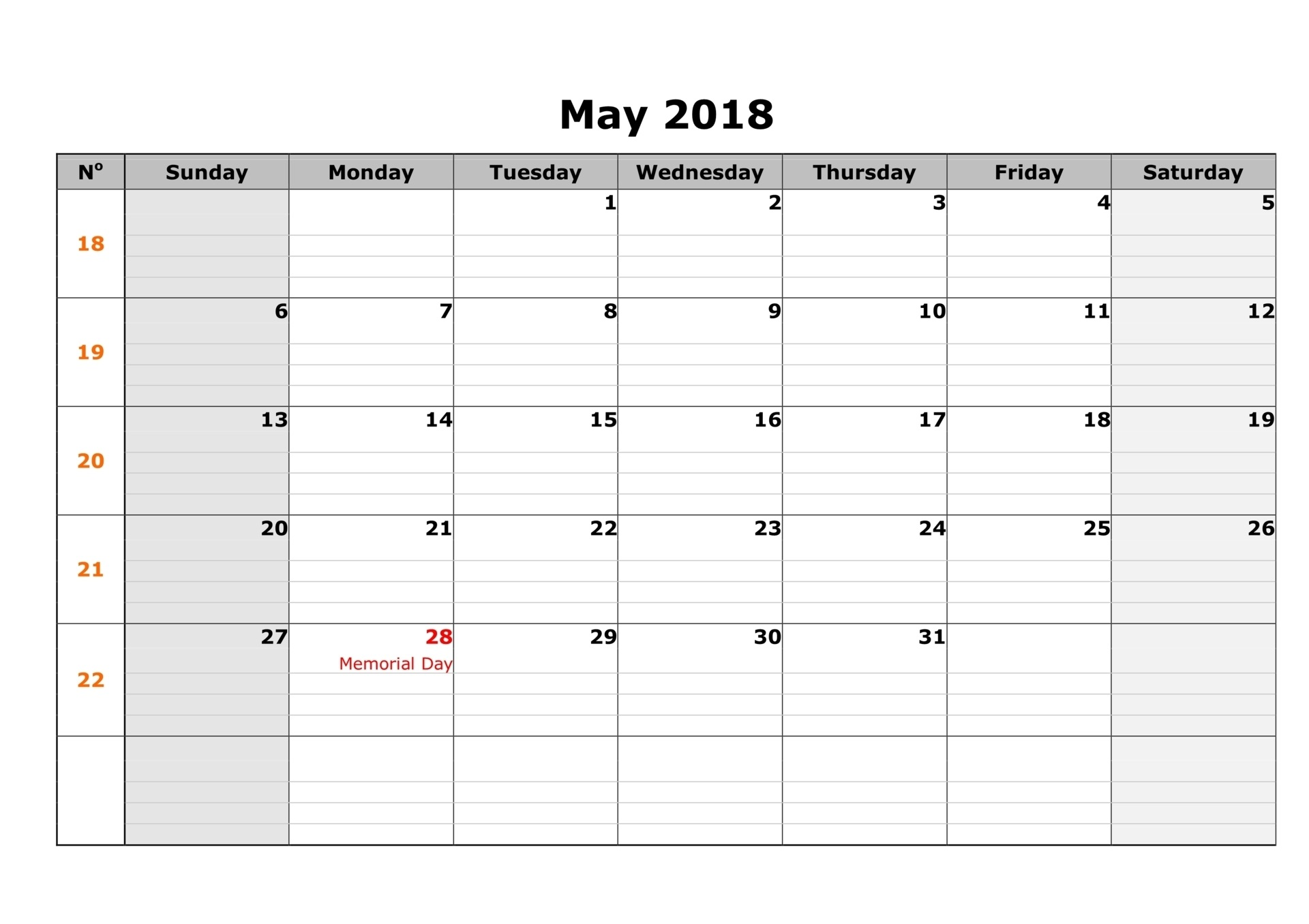 May 2018 Holidays with Festivals & Events