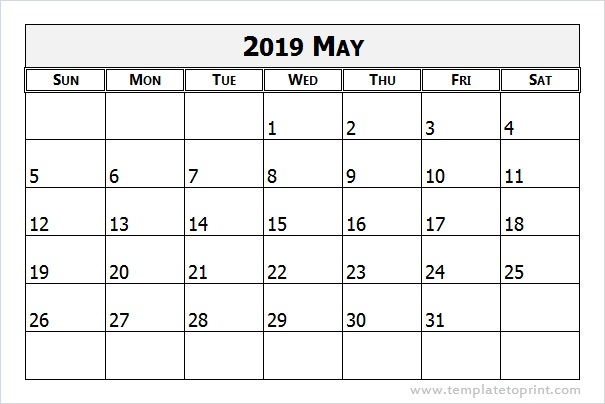 Free May 2019 Calendar Printable Word PDF Landscape Excel