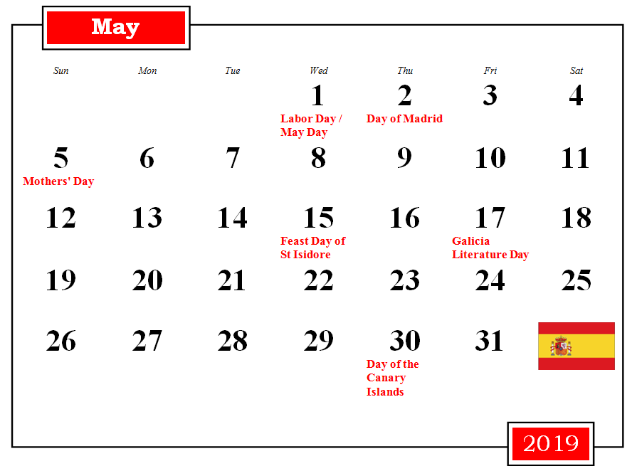 May 2019 Spain Holidays Calendar