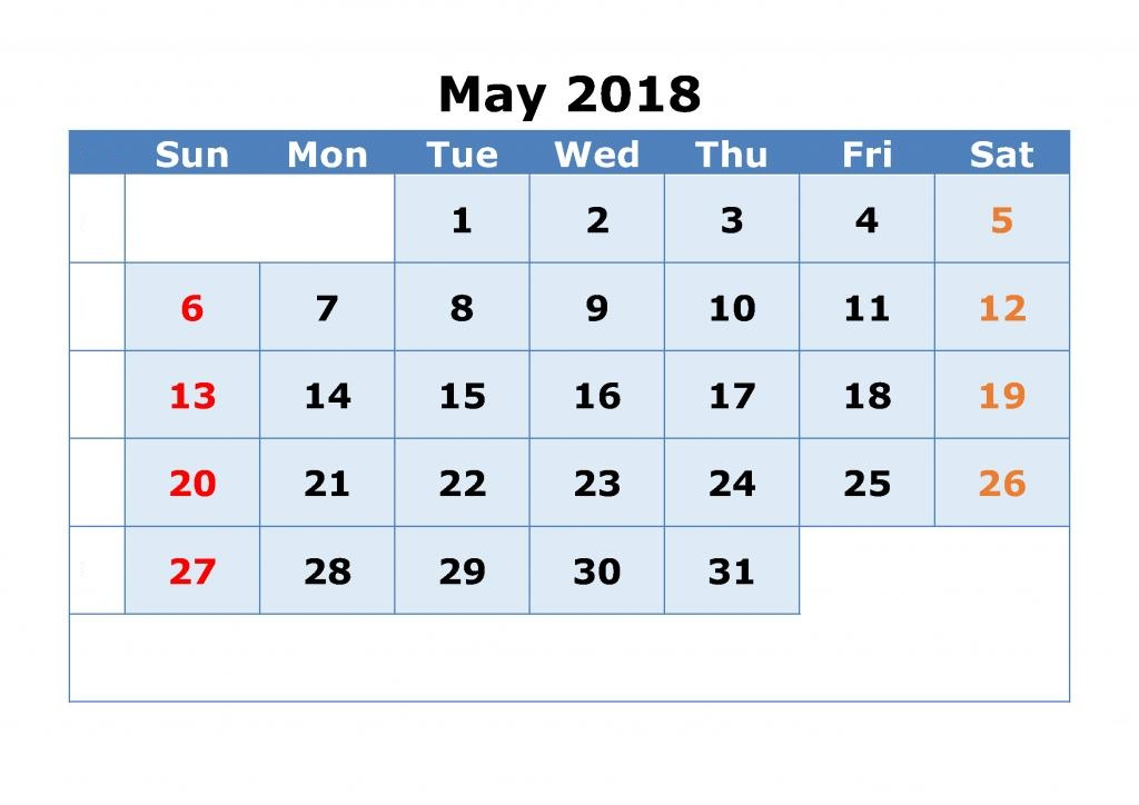 May Calendar 2018 Print Out