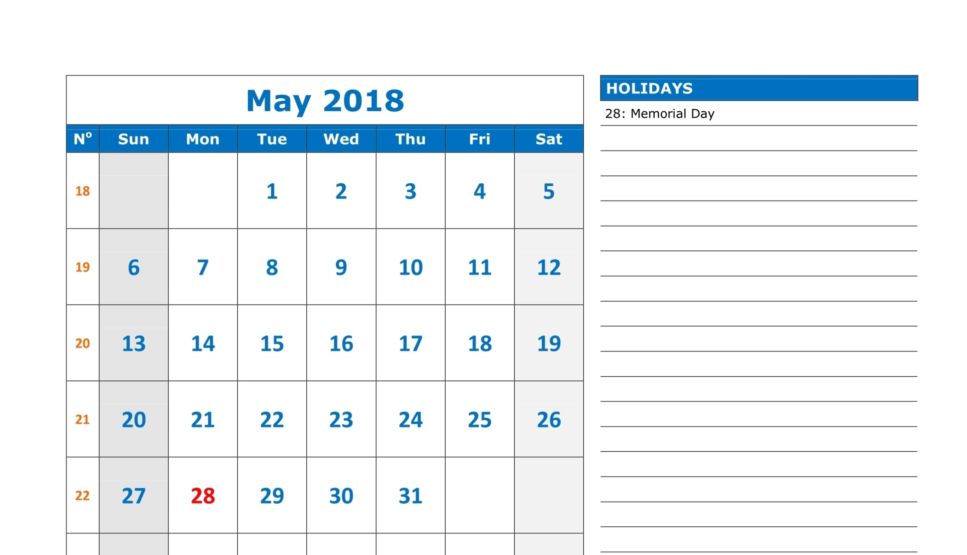 May Calendar 2018 With Holidays Notes