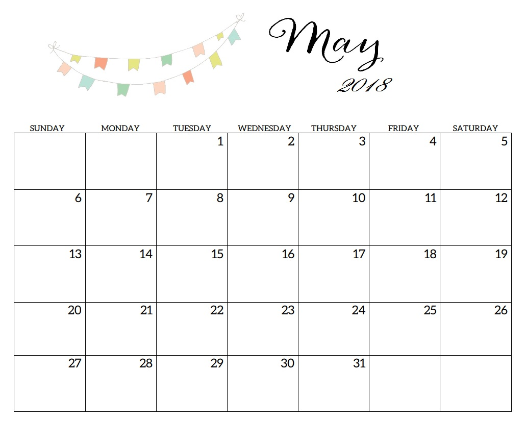 May Calendar Printable 2018 Blank Template
