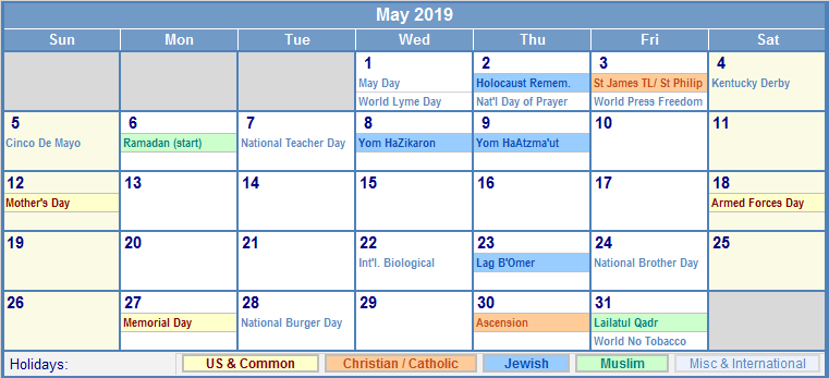 May Holiday Calendar 2019