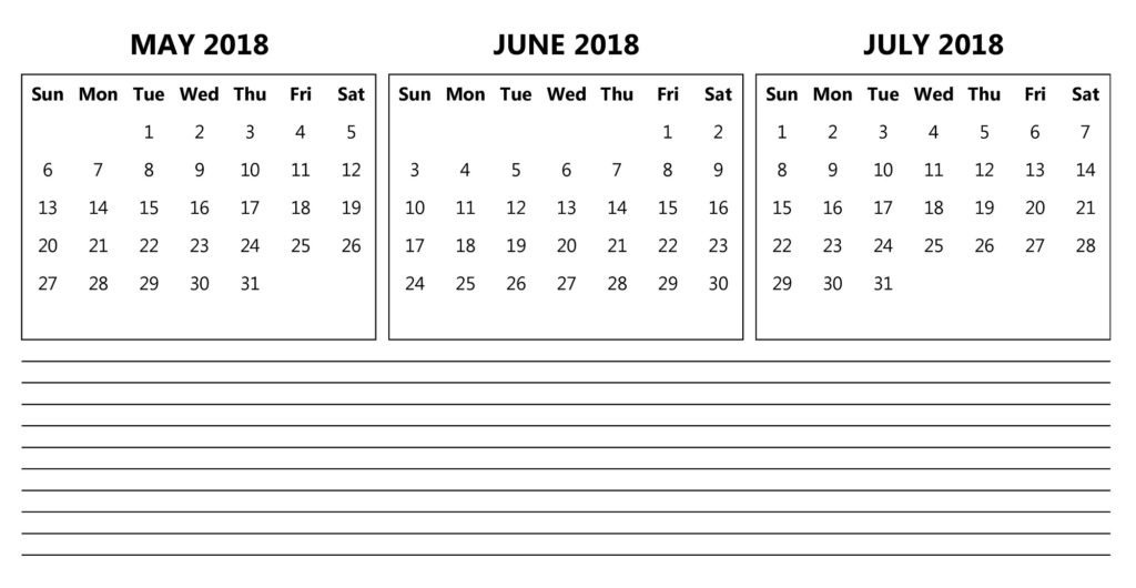 May June July Calendar 2018