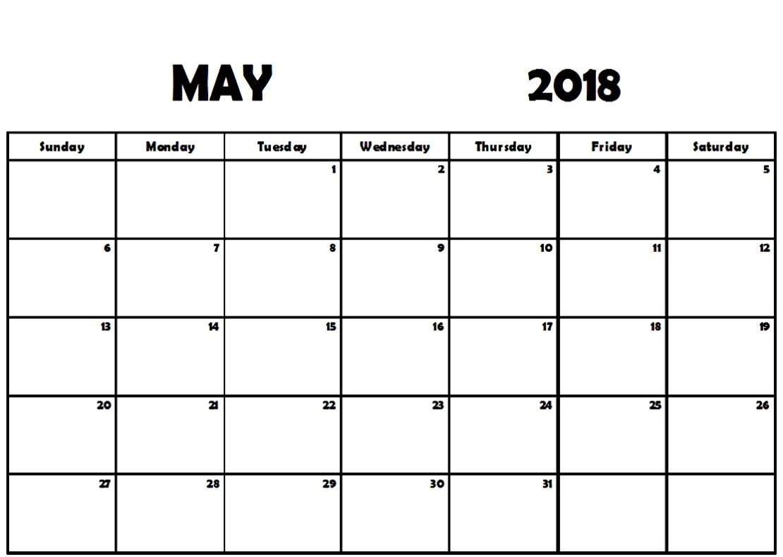 May Monthly Calendar 2018