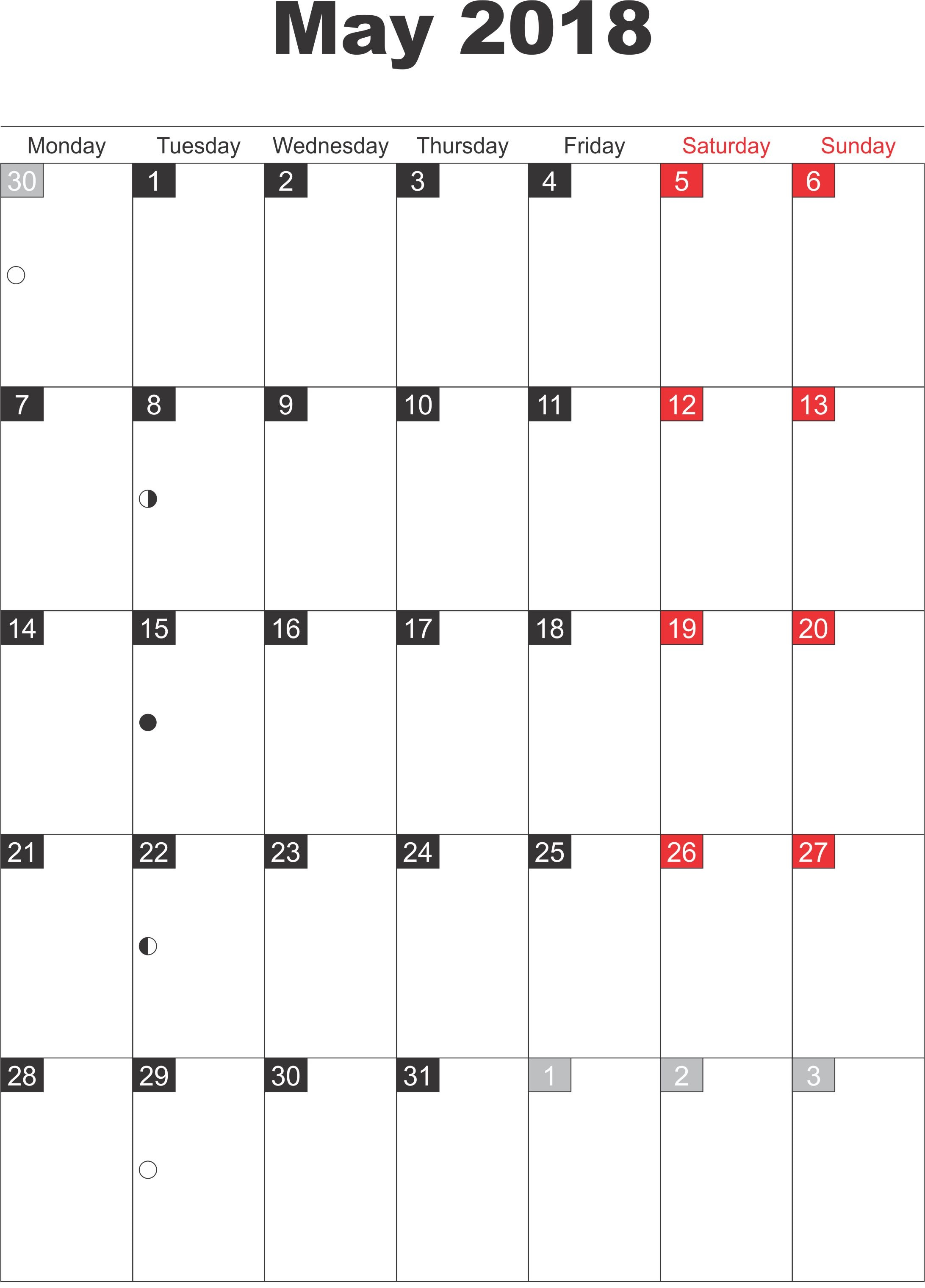 May Printable 2018 Calendar With Holidays