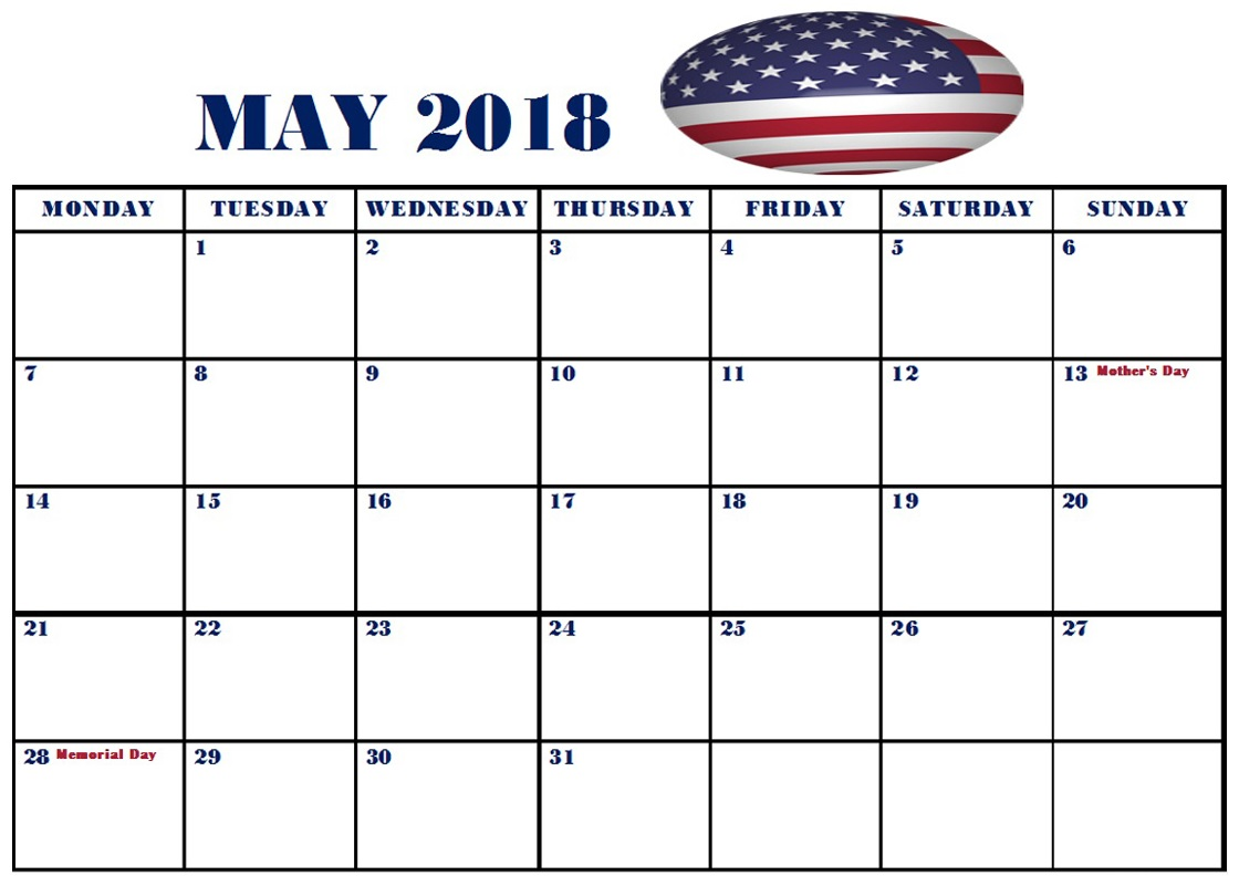 May U.S.A Monthly Calendar 2018 With Holidays