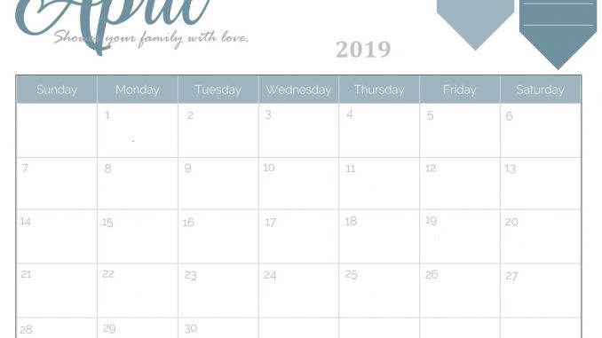 Monthly Calendar for April 2019
