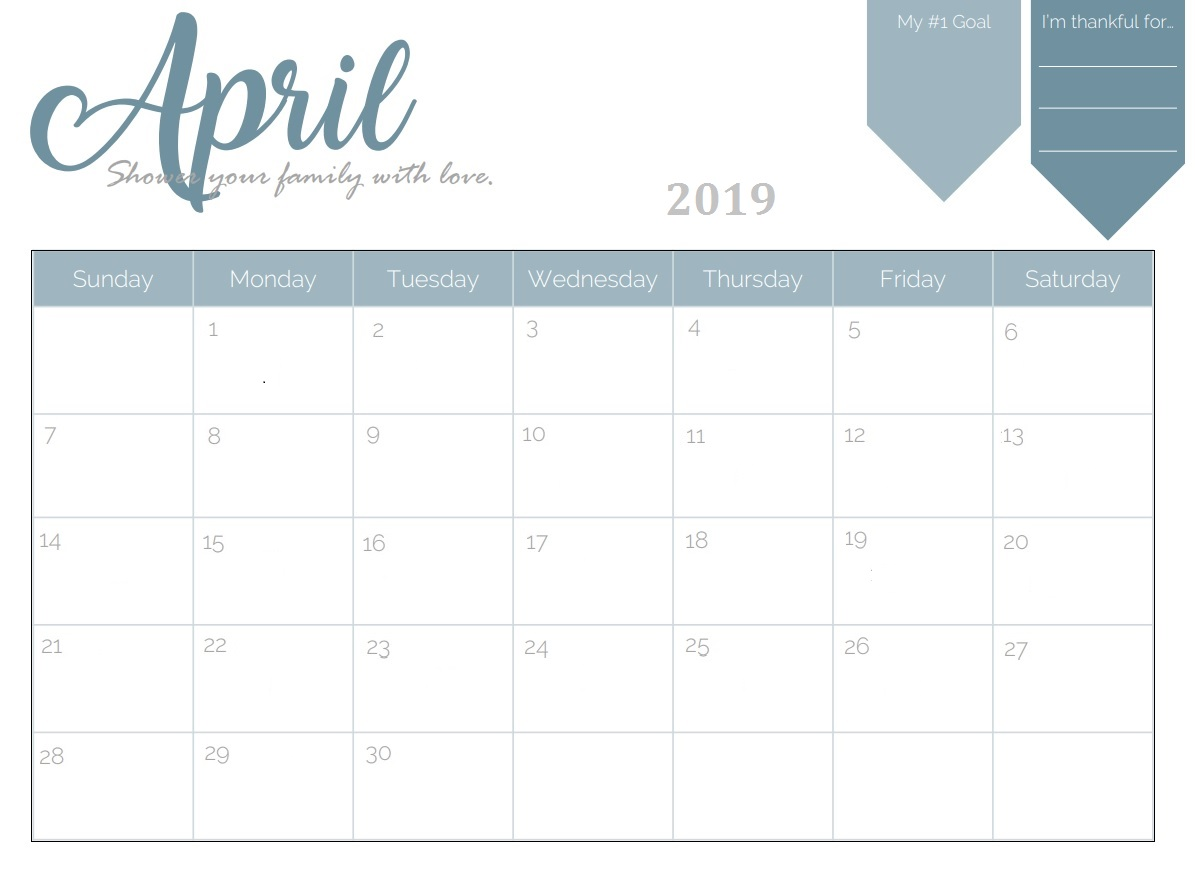 Lunar Calendar For April 2019 Printable Template Editable