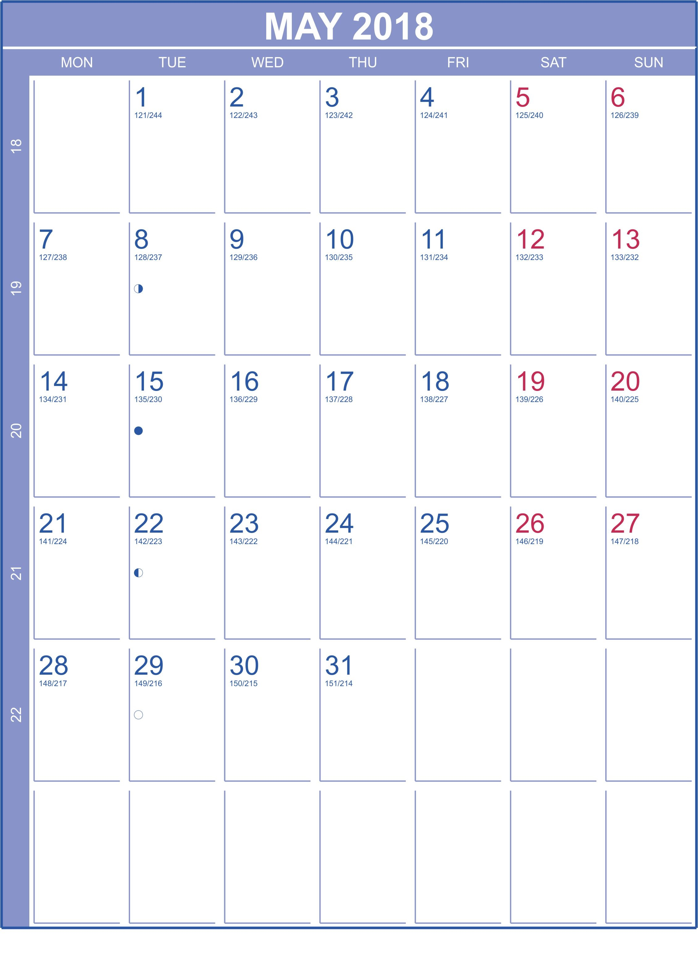 Monthly May Calendar 2018 With Holidays