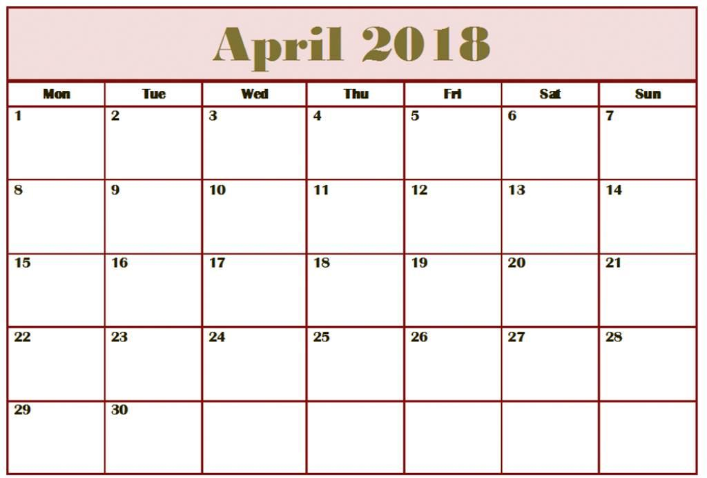 Monthly Printable Calendar April 2018