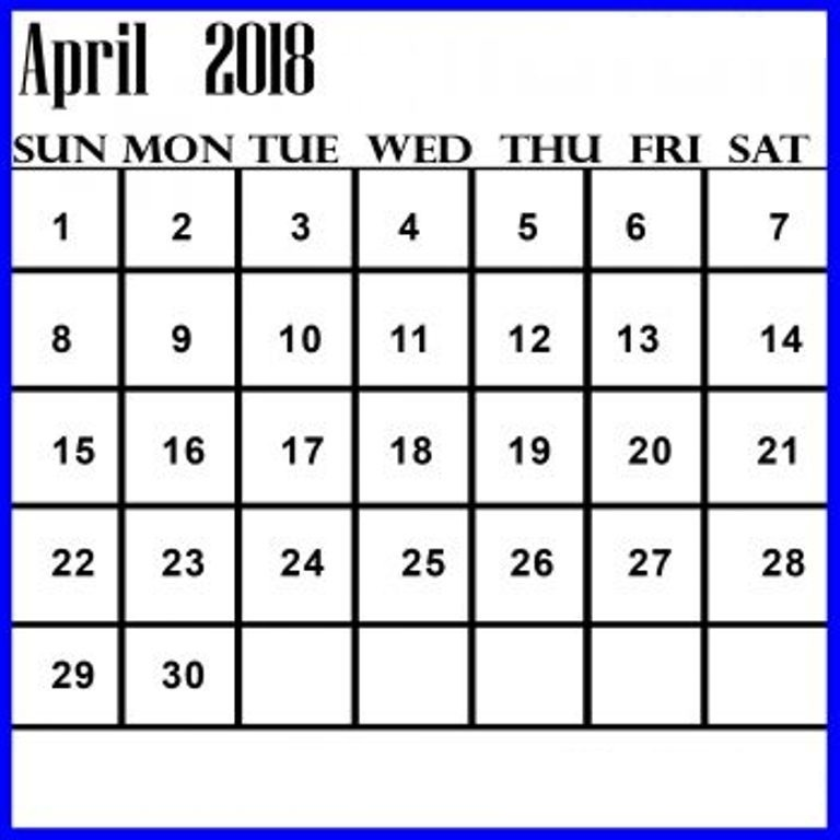 Online Printable Calendar April 2018
