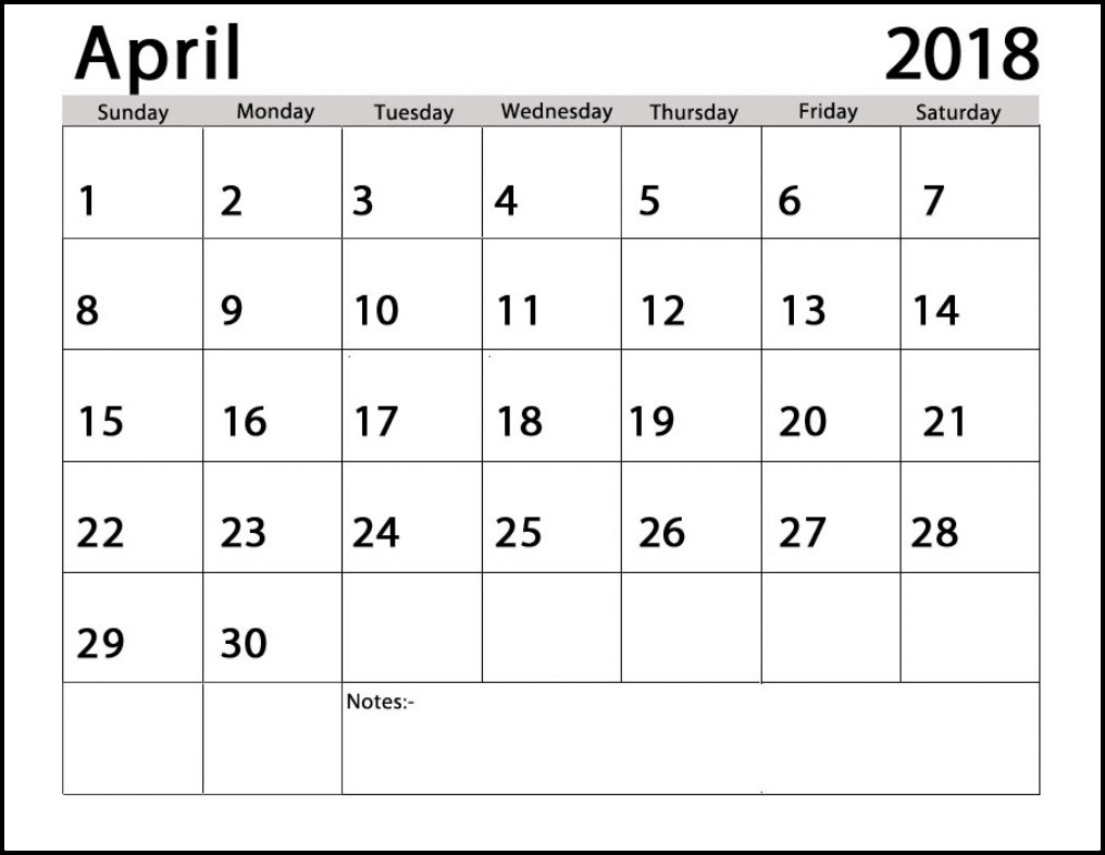 Printable Calendar April 2018 Excel