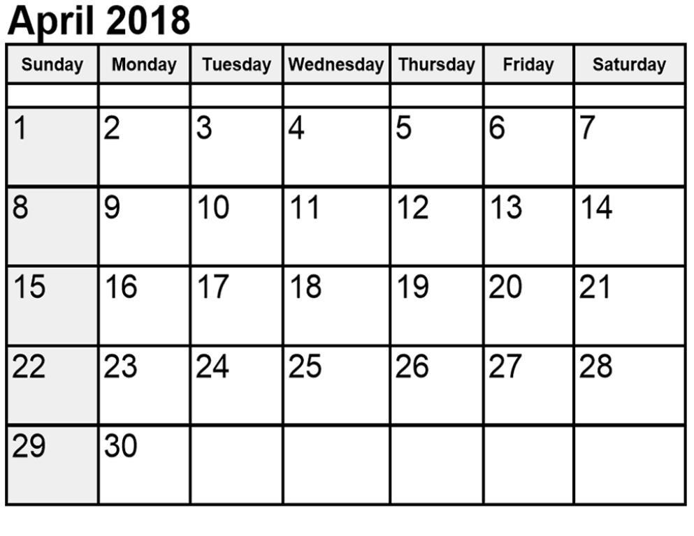 Printable Calendar April 2018 Print Out