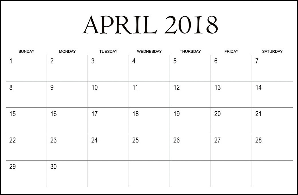 Printable Calendar April 2018 Template