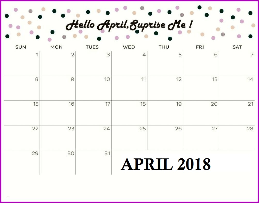 Printable Calendar April 2018 Wallpaper