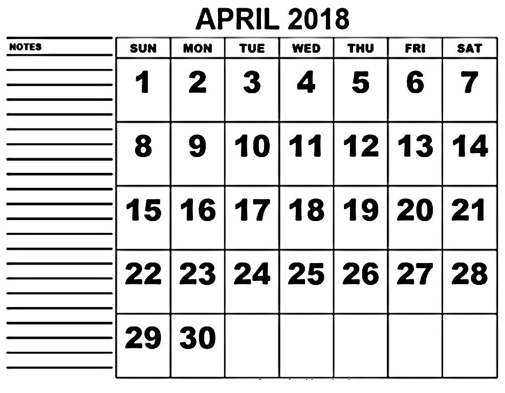 Printable Calendar April 2018 With Notes