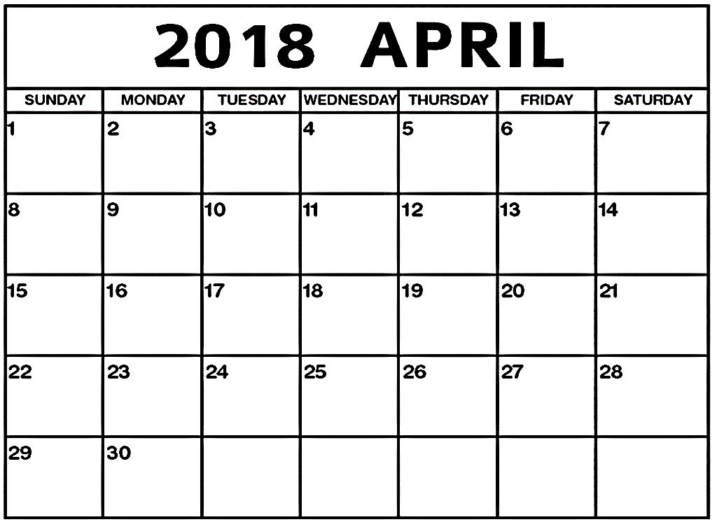 Printable Calendar April 2018 Word