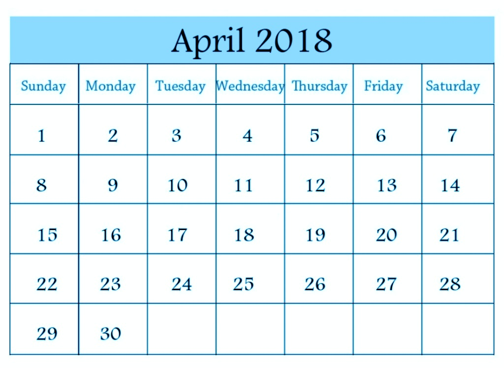 Printable Desk Calendar April 2018