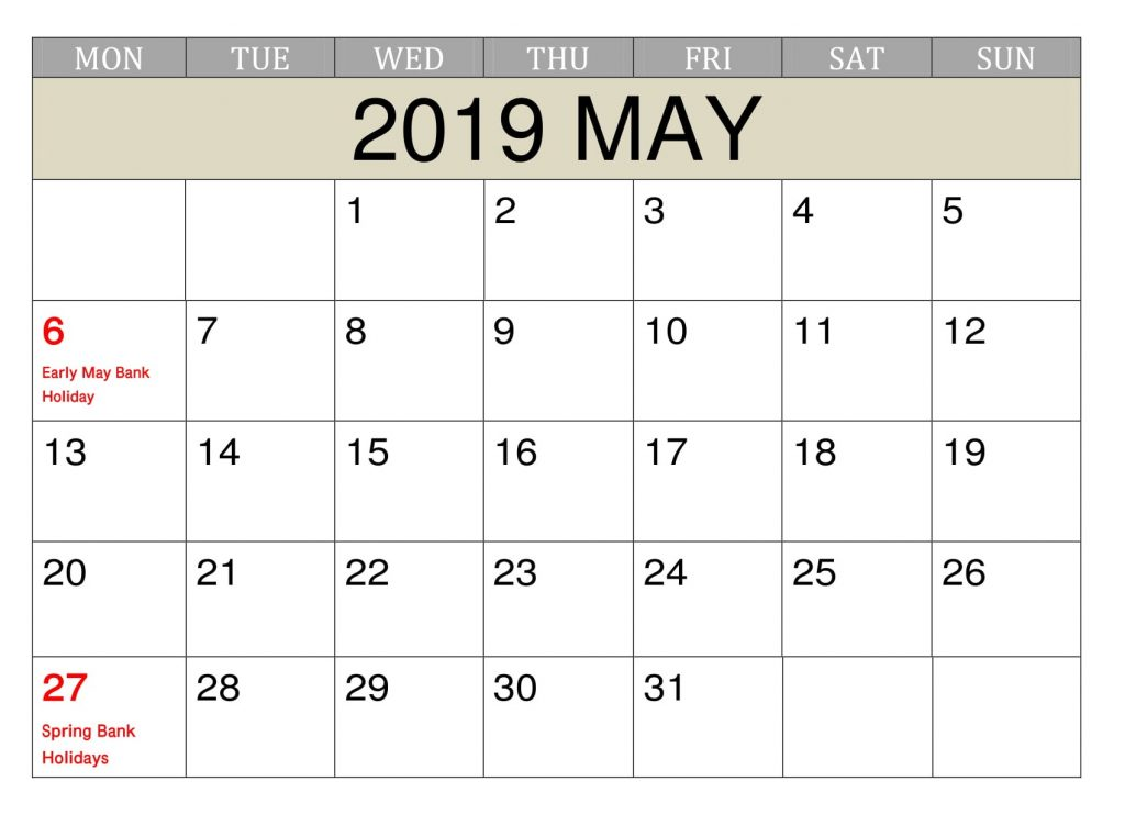 Printable May 2019 Calendar With Holidays
