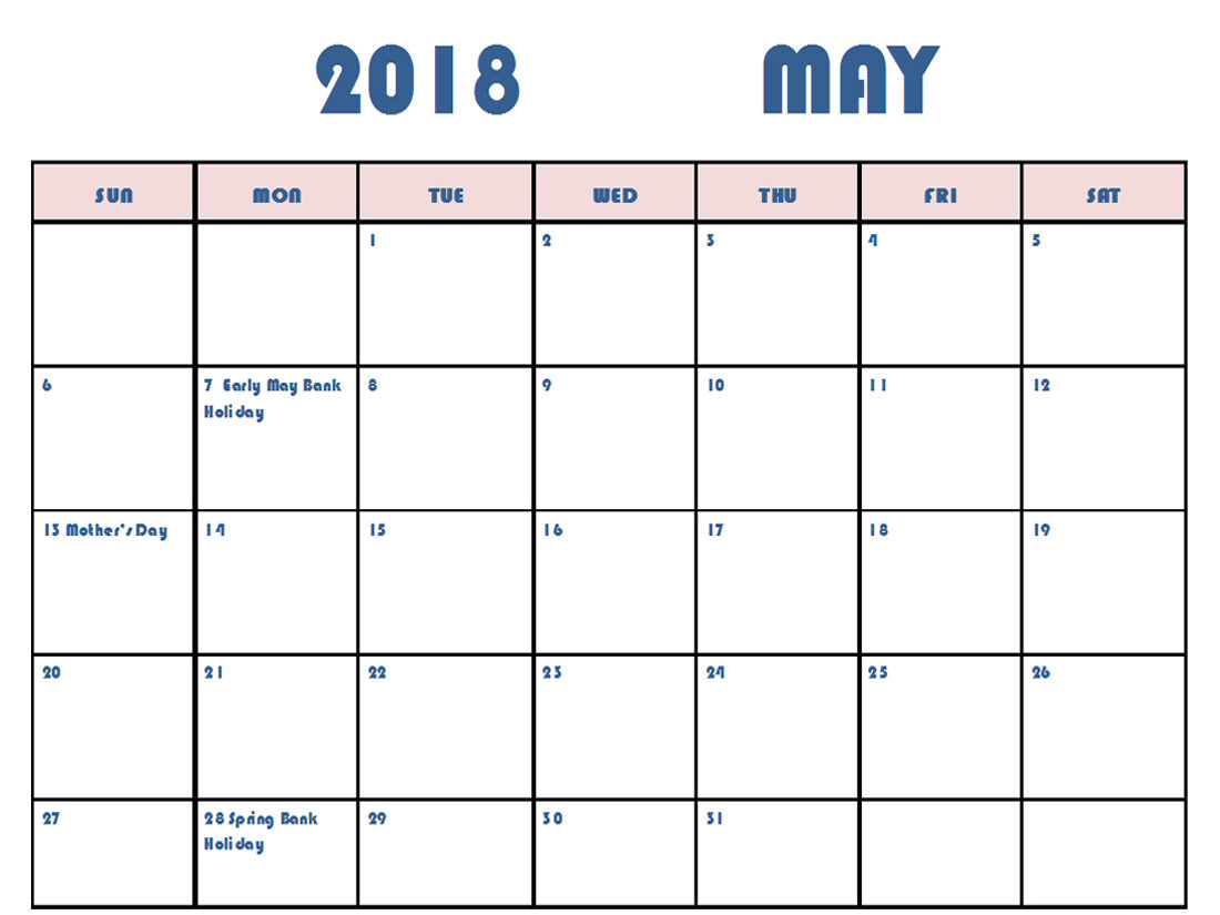 weekly may 2018 calendar with holidays