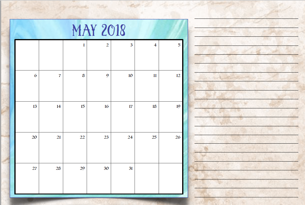 Weekly May 2018 Calendar with Notes