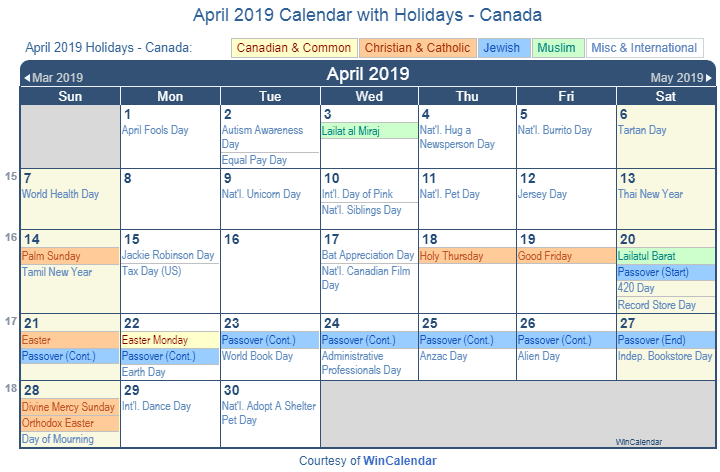 April 2019 Calendar Holiday Canada