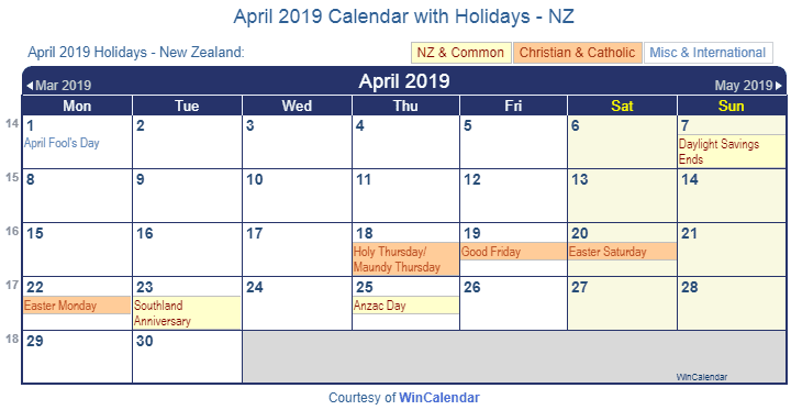 april 2019 calendar with holidays nz