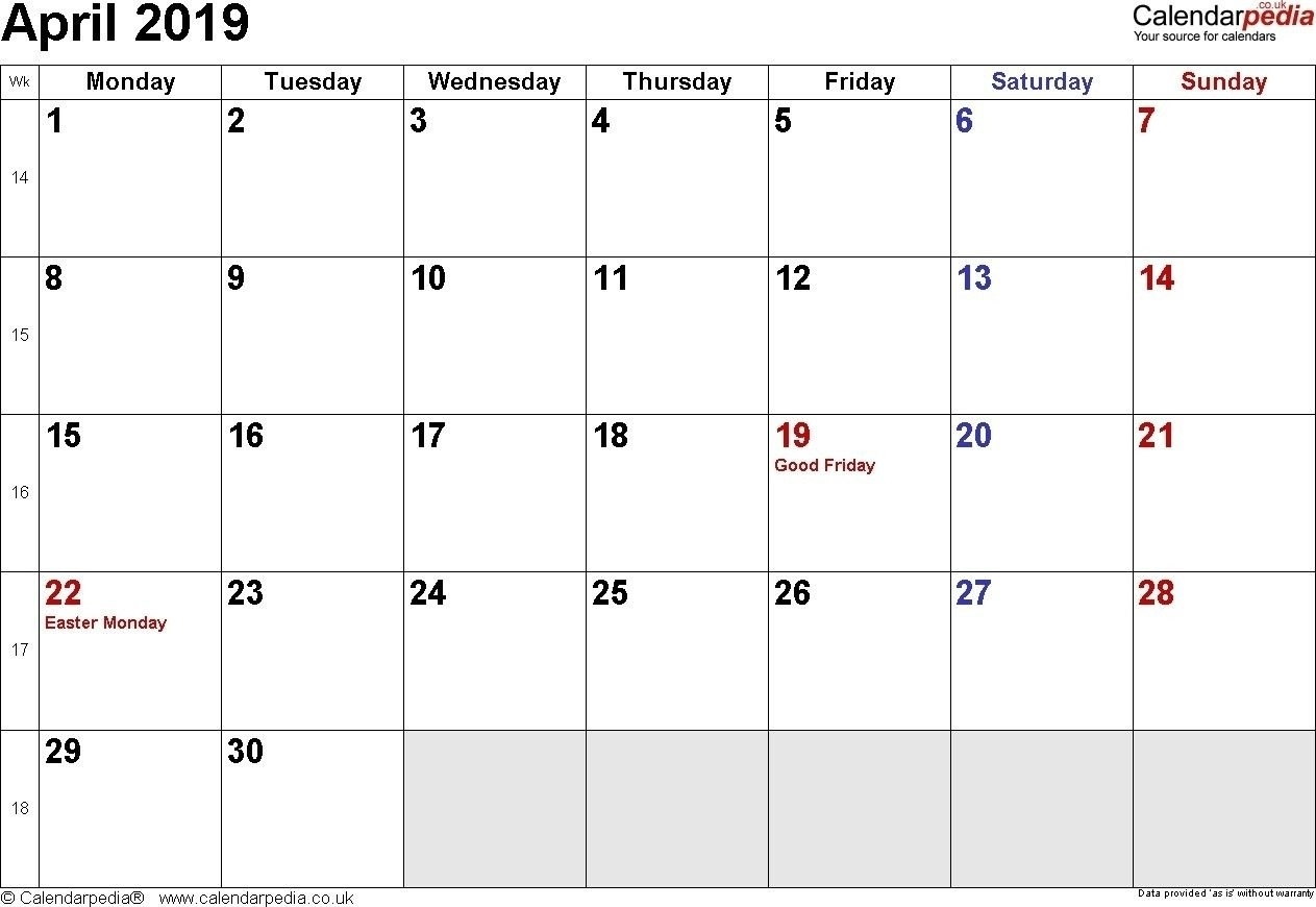 April 2019 Calendar With Holidays Philippines