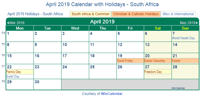 april 2019 calendar with holidays south africa