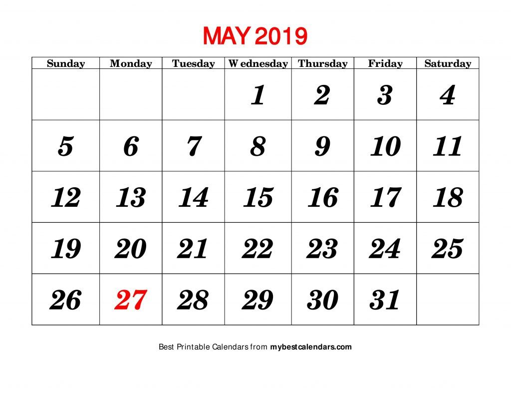 May Calendar 2019 Printable Template
