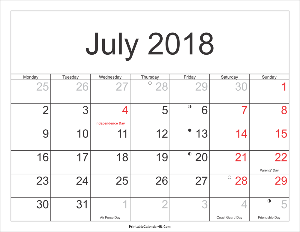Holidays Calendar July 2018 Printable