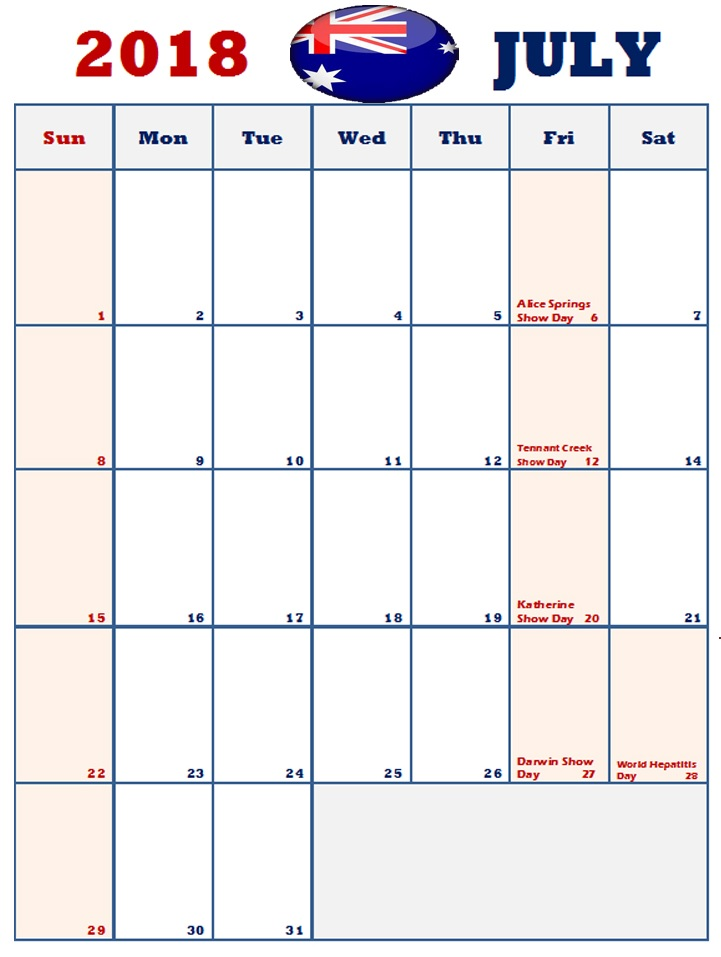 July 2018 Australia Holidays Calendar