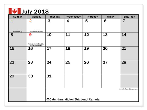 july 2018 calendar holidays canada