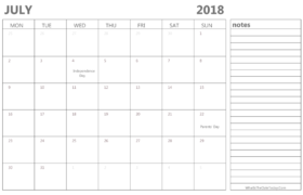 July 2018 Calendar Holidays with Notes