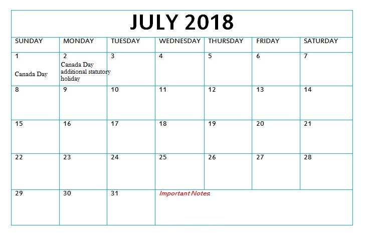 July 2018 Calendar Holidays