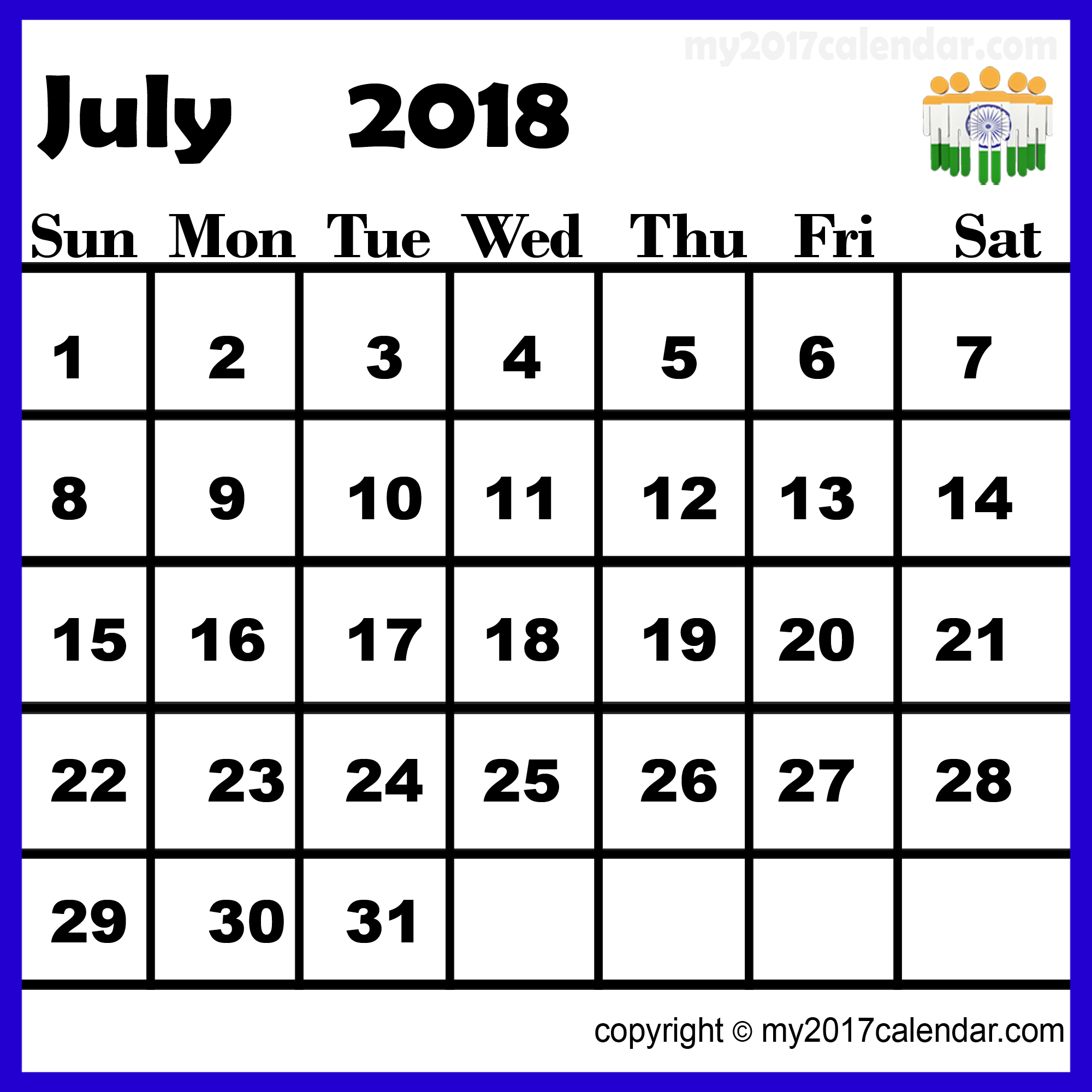 July 2018 Calendar India with Holidays