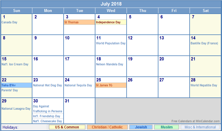July 2018 Calendar Printable Holidays