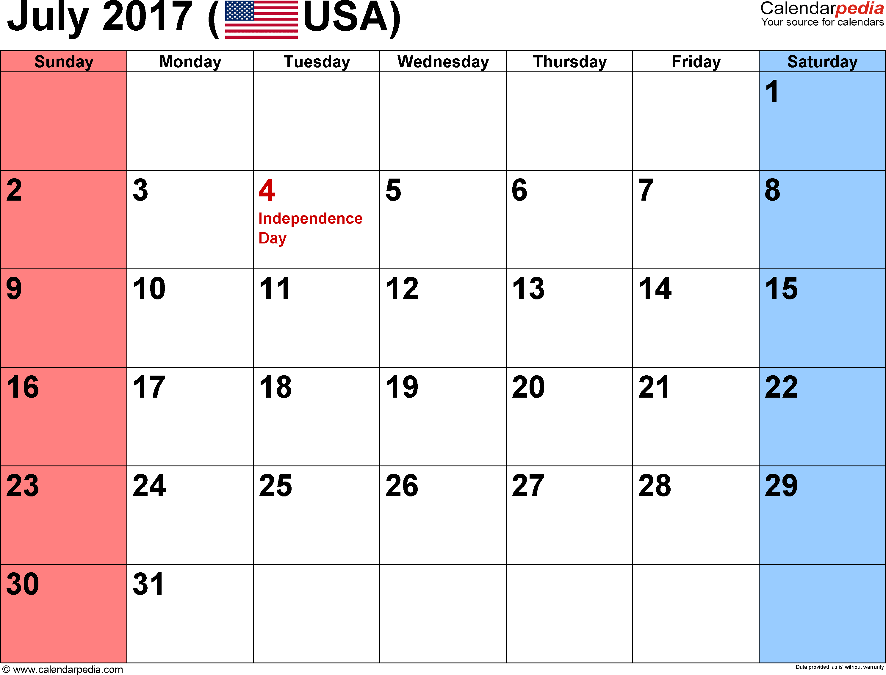 July 2018 Calendar USA Holidays