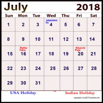 July 2018 Calendar With Holidays In India