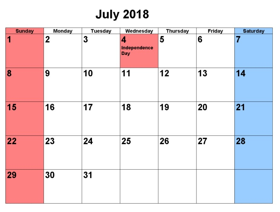 July 2018 Calendar With Holidays Template