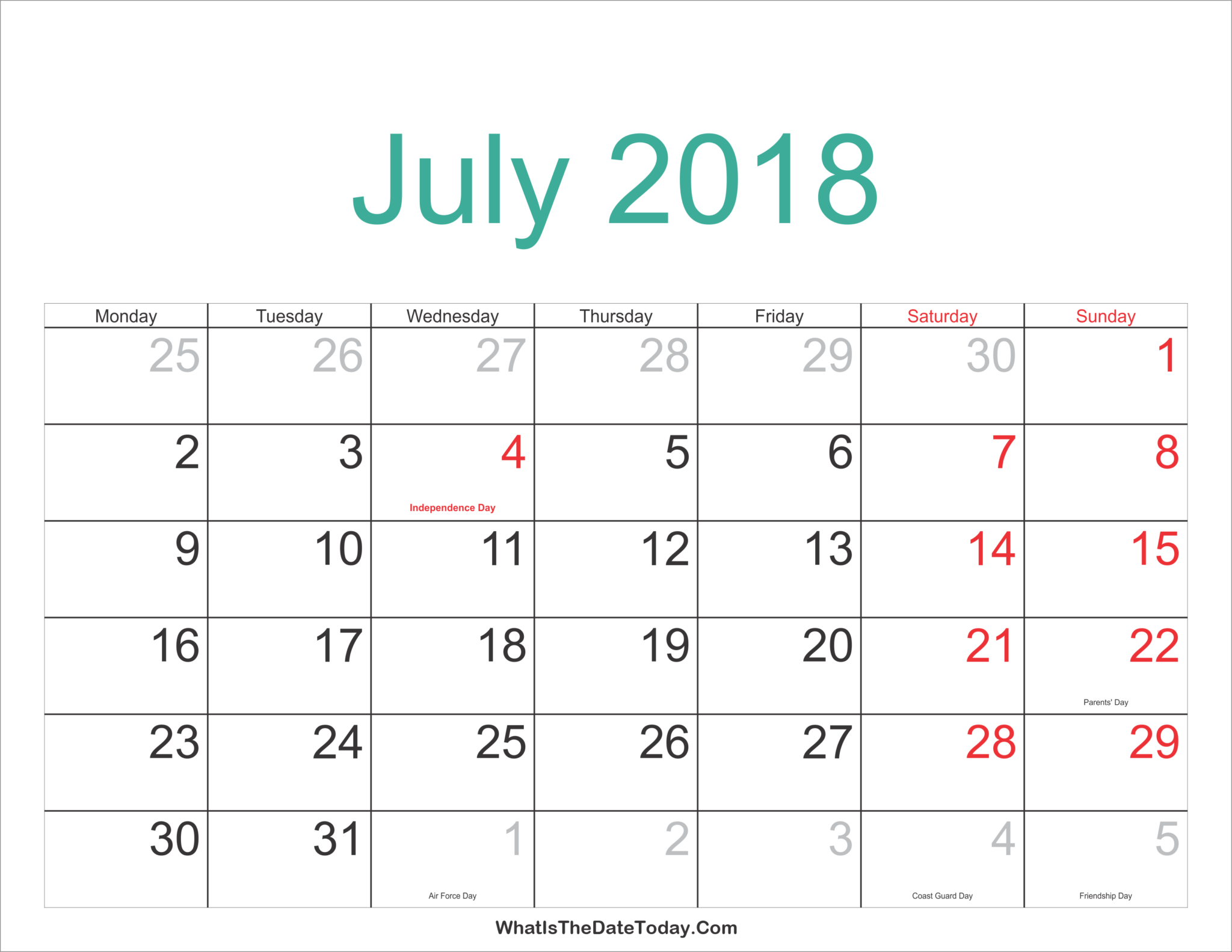 July 2018 Holidays Calendar Printable